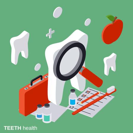 Teeth health, stomatology flat isometric vector concept Illustration