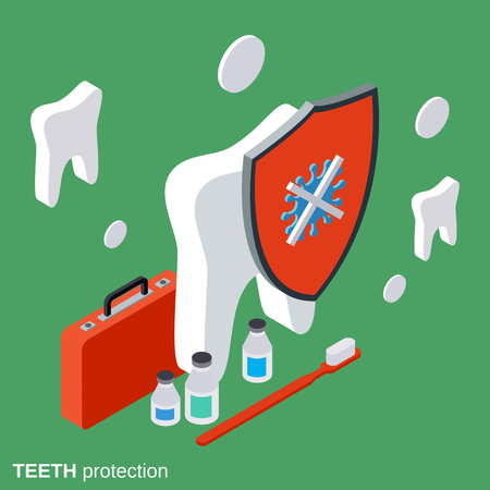 stomatology: Teeth protection, stomatology. healthcare vector concept