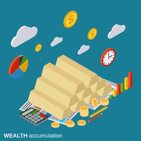accumulation: Wealth accumulation, business success, investment vector concept