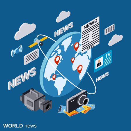 world news: World news flat isometric vector concept
