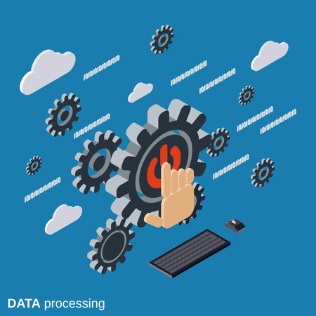 processing: Data processing, cloud computing vector concept Illustration
