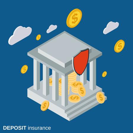 Bank deposit insurance flat isometric vector concept Illustration