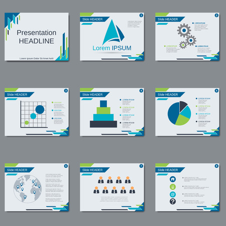 slideshow: Professional business presentation, slide show vector template