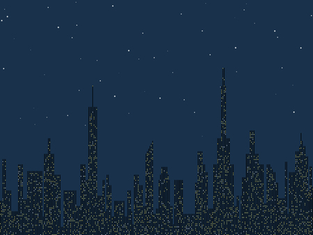 city background: Night city silhouette vector background Illustration