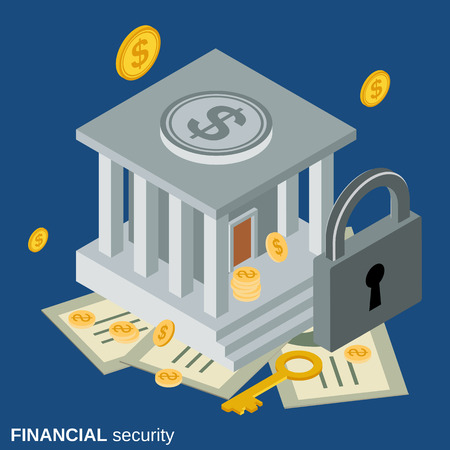 financial security: Financial security flat isometric vector concept