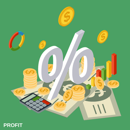 Profit, financial statistics, business report vector concept