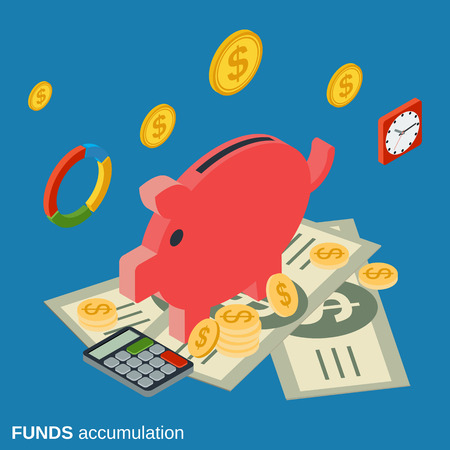 accumulation: Funds accumulation, bank deposit flat isometric vector concept