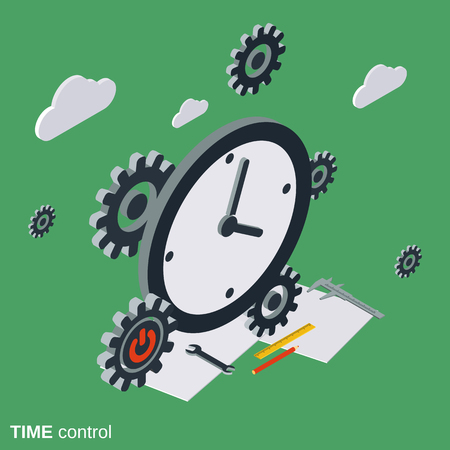 Time control, management flat isometric concept