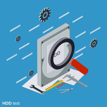 Hard disk test flat isometric illustration