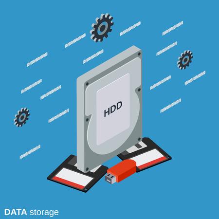 Data storage flat isometric illustration