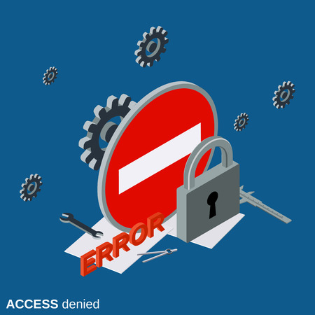 access denied: Access denied flat isometric concept illustration
