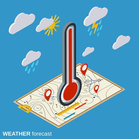 Prévisions météo plat illustration isométrique Banque d'images - 62318078