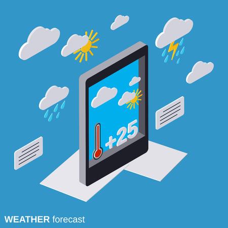 climatology: Mobile weather forecast flat isometric vector illustration Illustration
