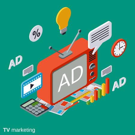 marketing TV, publicité vecteur concept illustration