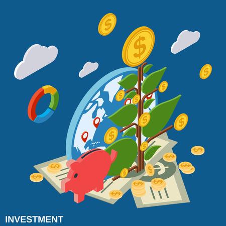 achievment: Investment flat isometric vector concept illustration