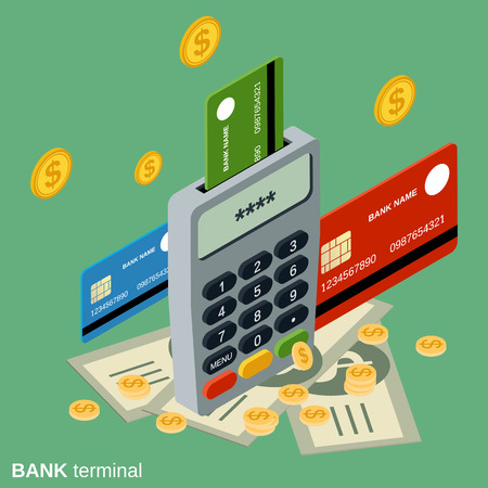 pin code: Bank card terminal flat isometric vector illustration