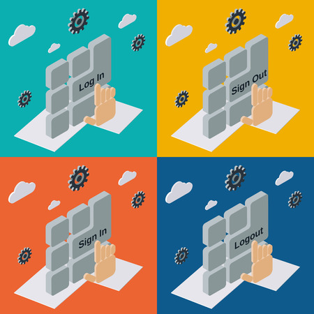 log out: Log in, log out, sign in, sign out flat isometric illustrations
