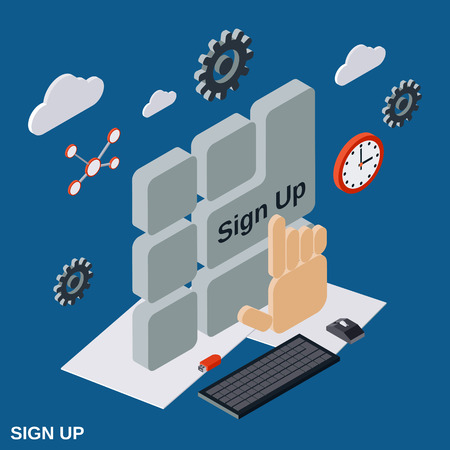 tecla enter: Sign up flat isometric concept illustration Vectores