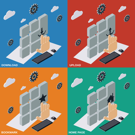 home page: Download, upload, bookmarks, home page flat isometric illustrations