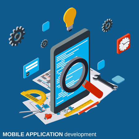 Mobile application development, program coding, algorithm optimization flat isometric