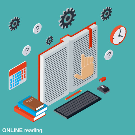 Online reading, education, tutorial, user guide flat isometric concept