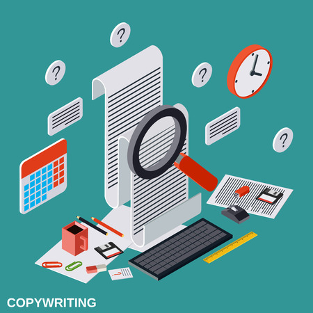 publication: Copywriting, editing, journalism, publication flat isometric vector concept Illustration