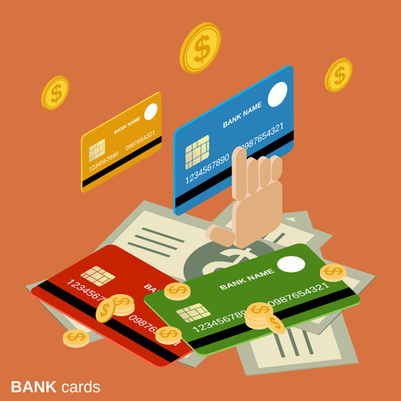 Bank cards flat isometric vector concept illustration