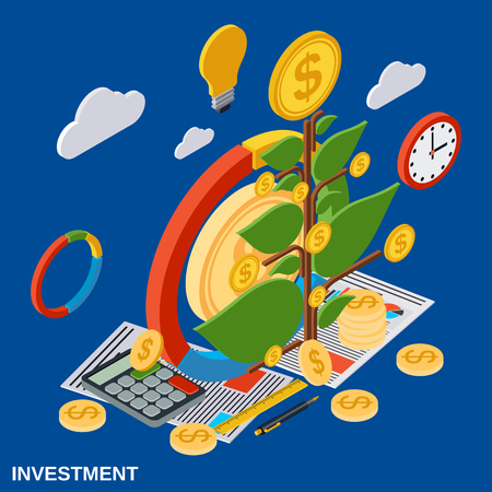 Investment, money tree flat isometric vector concept