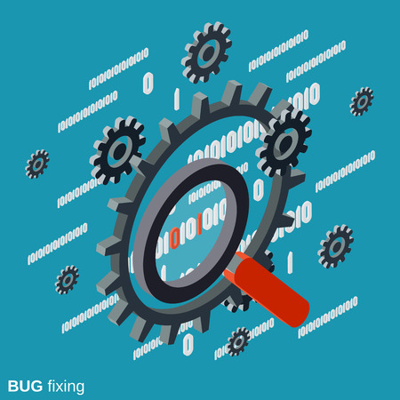 Bug fixing, error search, data recovery flat isometric vector concept Illustration
