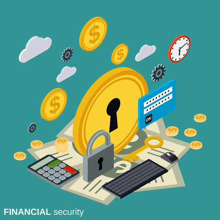 dependable: Financial security, money protection flat isometric vector concept