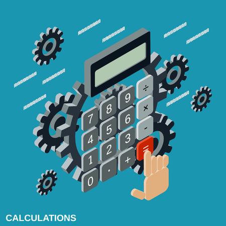 Cartoon calculator flat isometric vector illustration Illustration