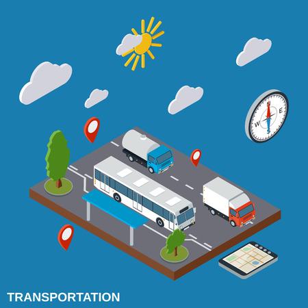 Transportation, delivery, logistics flat isometric vector illustration