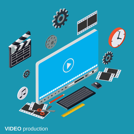 Video production flat isometric vector concept
