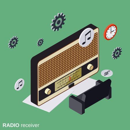 receiver: Radio receiver, broadcasting flat isometric vector concept