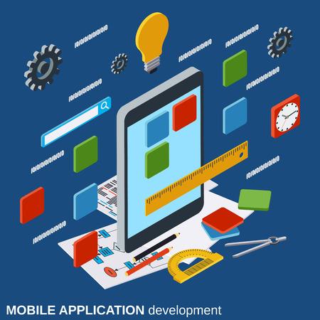 Mobile application development, program coding vector concept