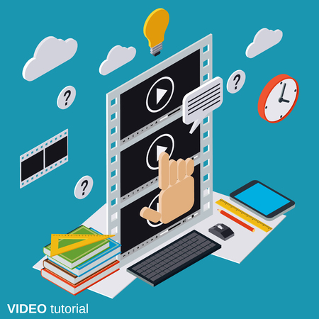 Computer instruction: Video tutorial, e-learning, online education, user guide flat isometric vector concept Illustration