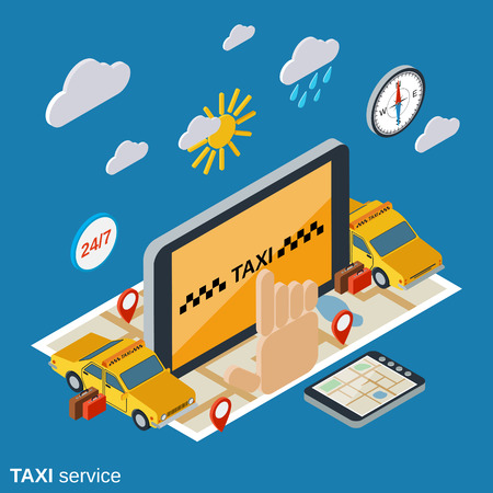 Taxi service flat isometric vector concept