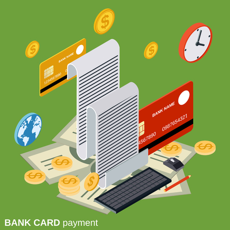 Bank card payment, money transfer, financial transaction flat isometric vector concept