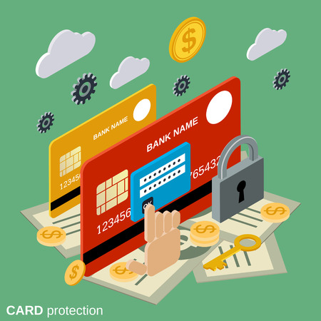 Financial security, card protection flat isometric vector concept