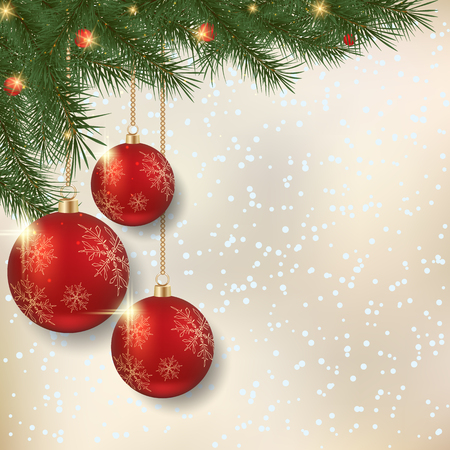 light chains: Merry Christmas and Happy New Year blurred vector background with fir branches and luxury balls