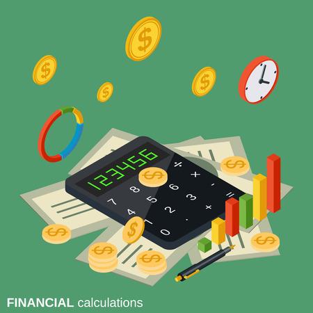 Financial calculations flat isometric vector concept