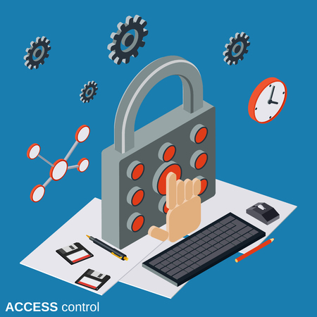 Access control, computer security flat isometric vector concept Illustration