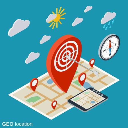 Geo location, navigation flat isometric vector concept