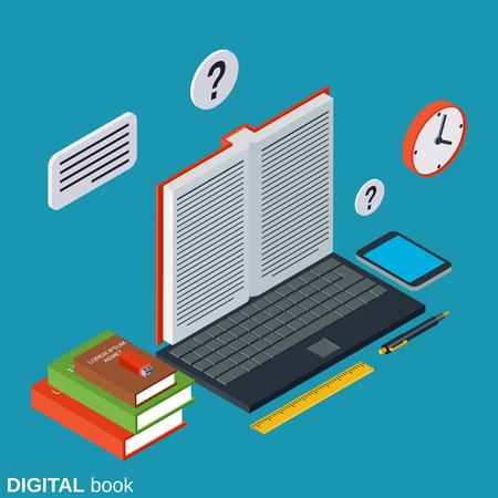 Digital book flat isometric vector concept Illustration