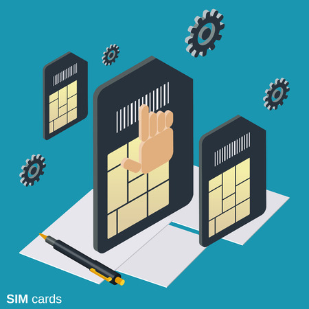Mobile phone SIM cards flat isometric vector concept
