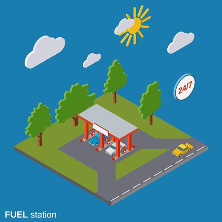 Fuel station exterior isometric vector illustration Illustration
