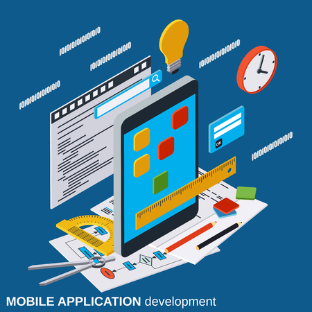 Mobile application development, program coding flat 3d isometric vector concept