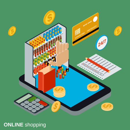 Online shopping flat 3d isometric vector concept illustration