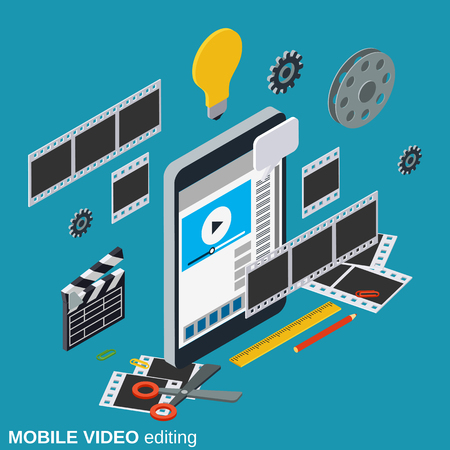 Mobile video production, editing, montage vector concept illustration