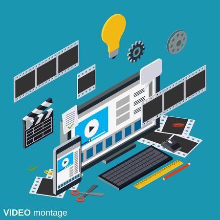 Video productie, bewerken, montage plat 3d isometrische vector concept illustratie Stock Illustratie